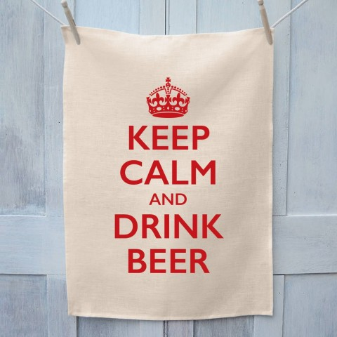 Keep Calm And Drink Beer Tea Towel