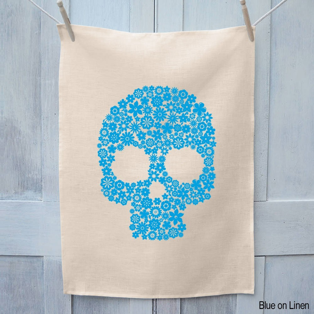 Skull Flowers Tea Towel - Choosy