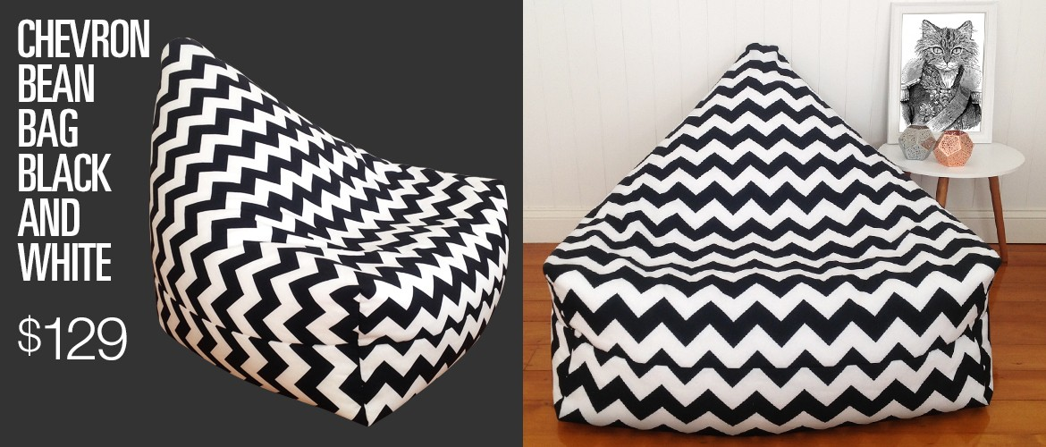 Chevron Bean Bag Black White
