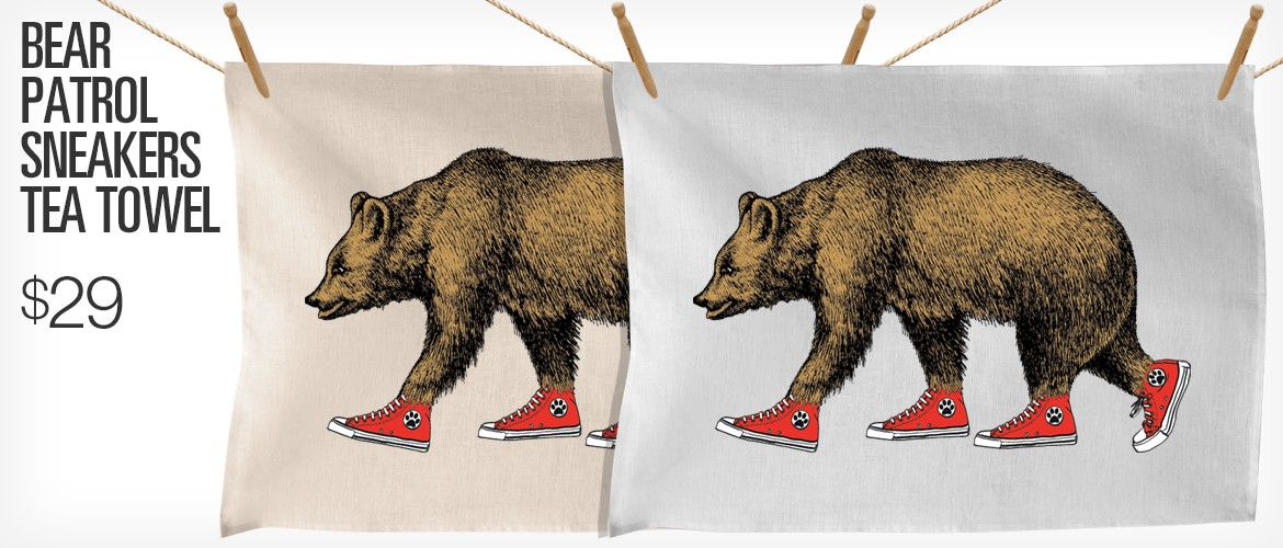 Bear Patrol Sneakers Tea Towel
