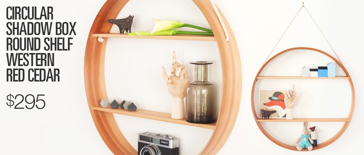 Circular Shadow Box Round Shelf Western Red Cedar