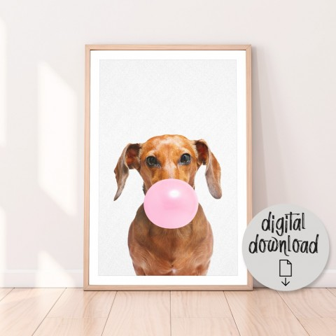 Dachshund Bubblegum Download Print