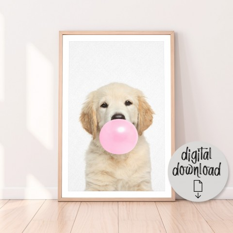 Golden Retriever Bubblegum Download Print