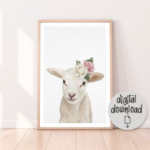 Vintage Baby Lamb Download Print