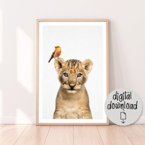 Woodland Animal Bedroom Print or Lion Cub Nursery Download Print