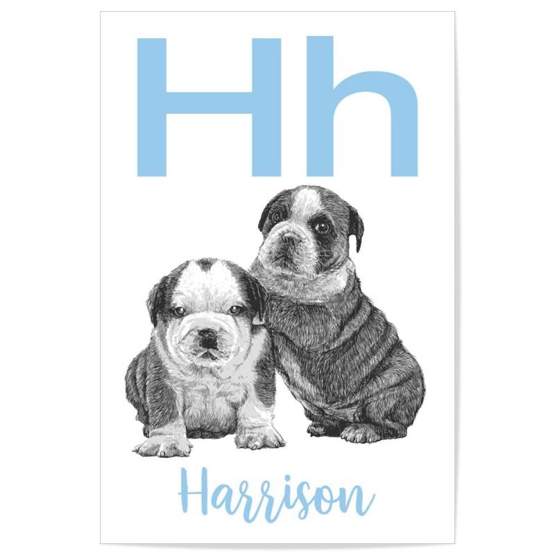 Custom Personalised Letter Name Nursery Blue Puppy Art Print