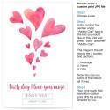 Custom Baby Name Love Hearts Nursery or Bedroom Art Birth Print - Personalised