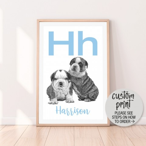 Custom Letter Name Puppy Blue Download Print