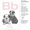 Custom Letter Name Puppy Pink Art Print
