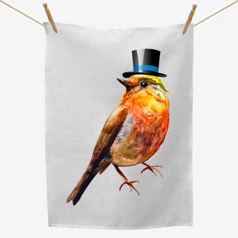 Bird Top Hat Tea Towel