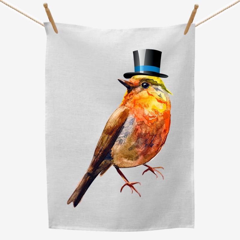 Bird Top Hat Tea Towel