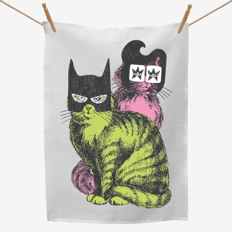 Elvis and Batman Mask Cats Tea Towel