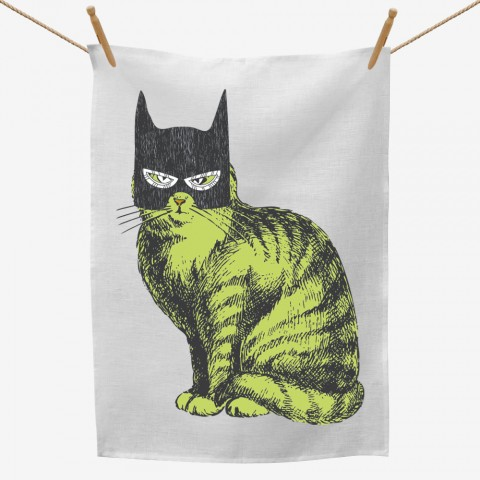 Batman Mask Cat Tea Towel