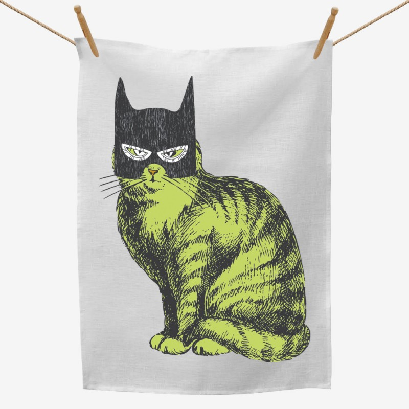 Batman Mask Cat Tea Towel
