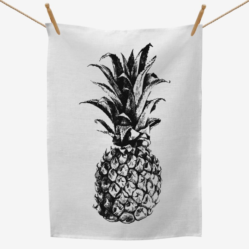 Pineapple Illustration Tea Towel
