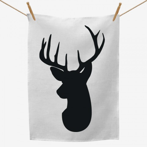 Deer Head Silhouette Tea Towel