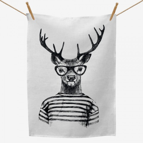 Hipster Deer Tea Towel