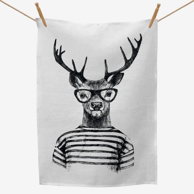 Hipster Deer Tea Towel