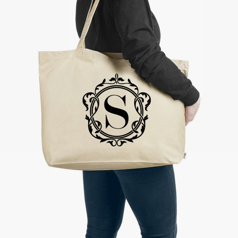 Personalised Monogram Organic Tote Bag Natural