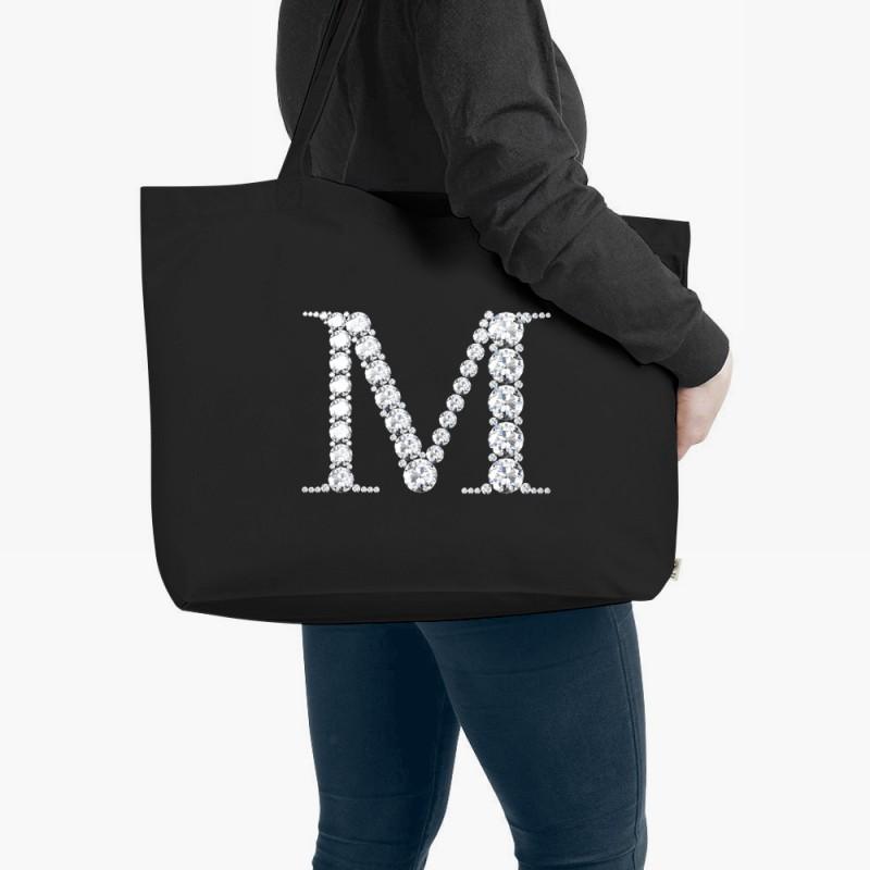 Personalised Diamond Monogram Organic Tote Bag Black Large