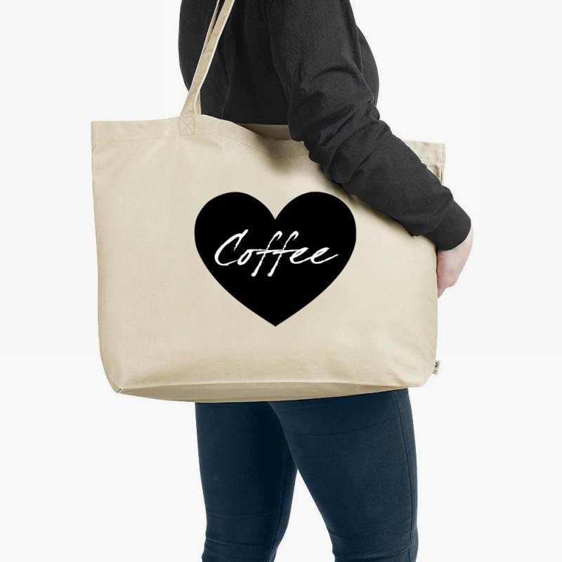 Personalised Heart Organic Tote Bag Natural Large