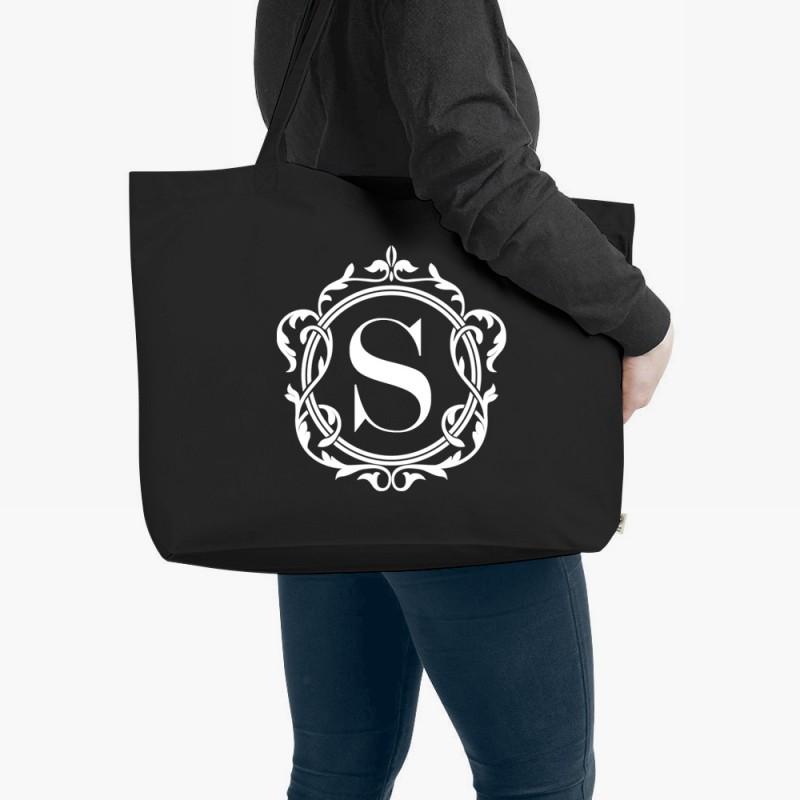 Personalised Monogram Organic Tote Bag Black Large