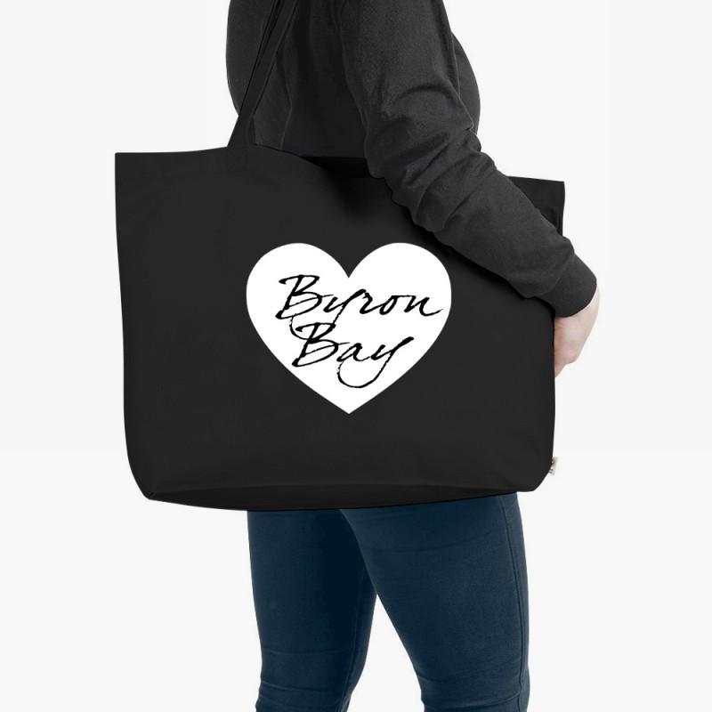 Personalised Heart Organic Tote Bag Black Large