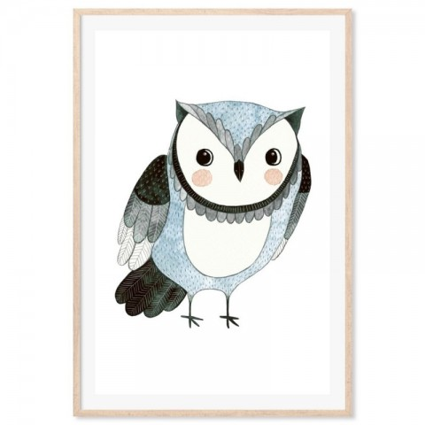 Hand Drawn Woodland Owl Blue Art Print
