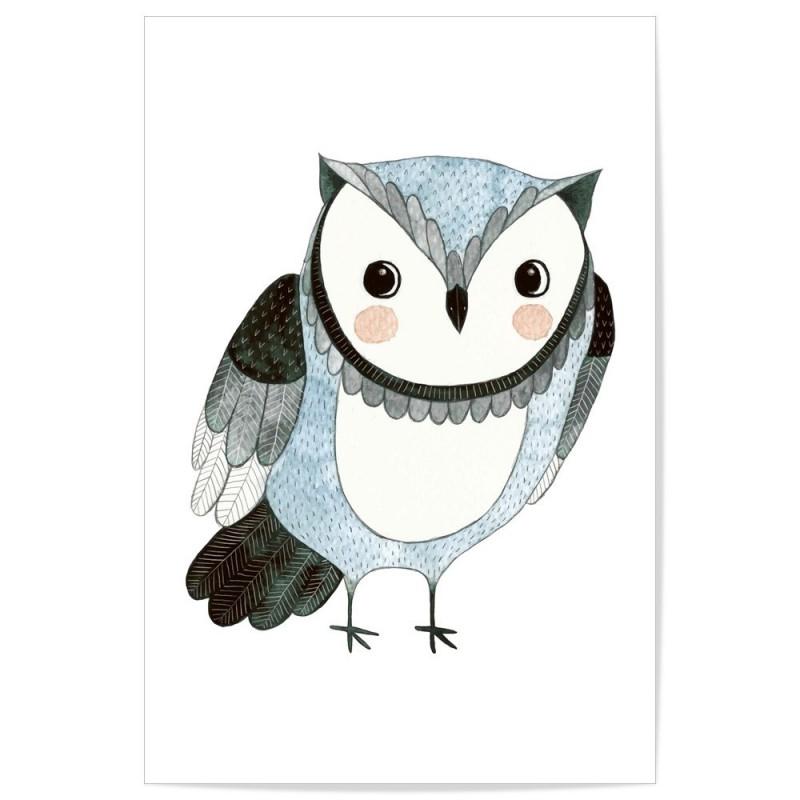Hand Drawn Woodland Owl Blue Art Print