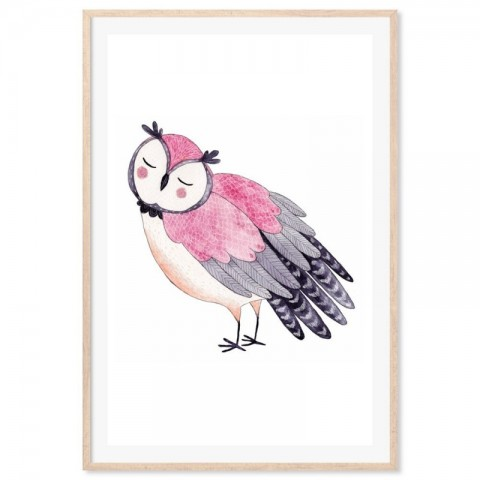 Hand Drawn Woodland Owl Pink Art Print