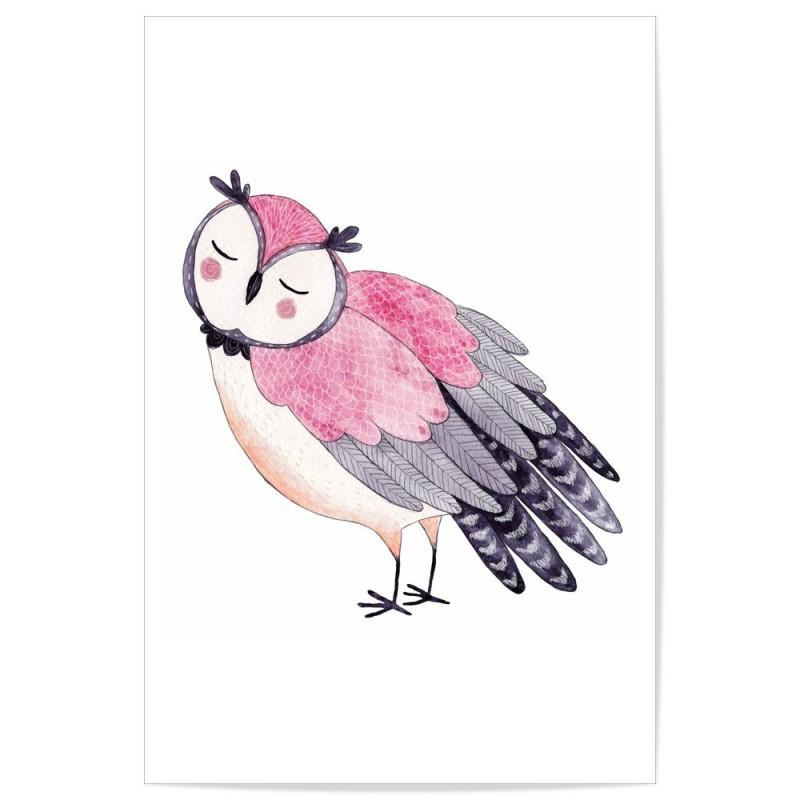 Hand Drawn Woodland Owl Pink Art Print
