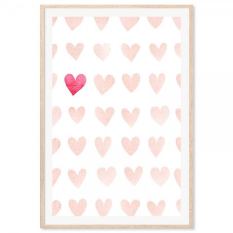 Love Hearts Watercolour Art Print