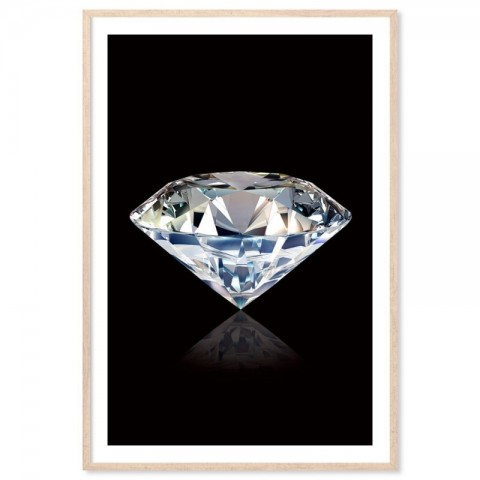 White Diamond Black Art Print