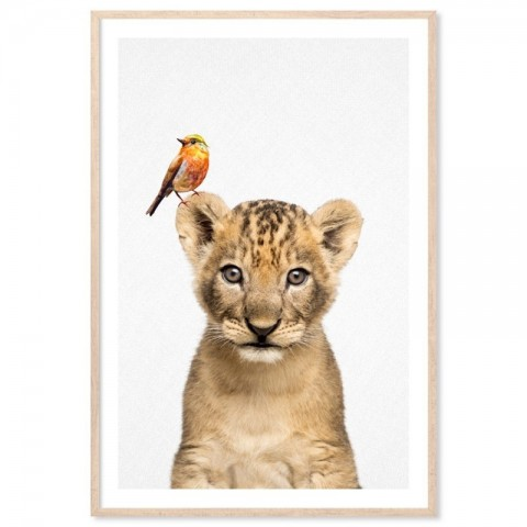 Lion Cub Bird Art Print