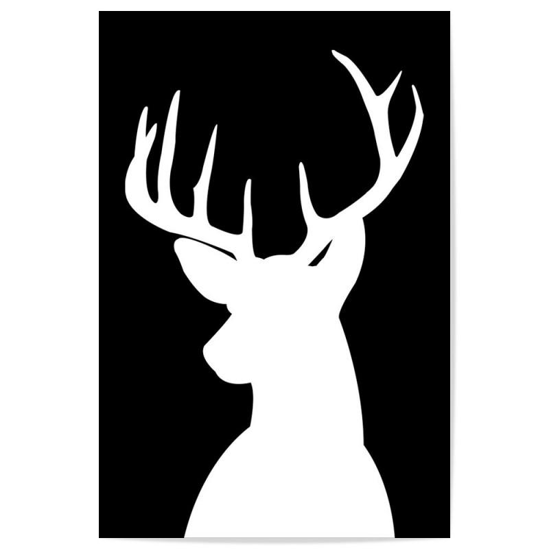 Deer Head Silhouette White Art Print