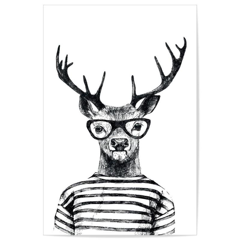 Hipster Deer Art Print