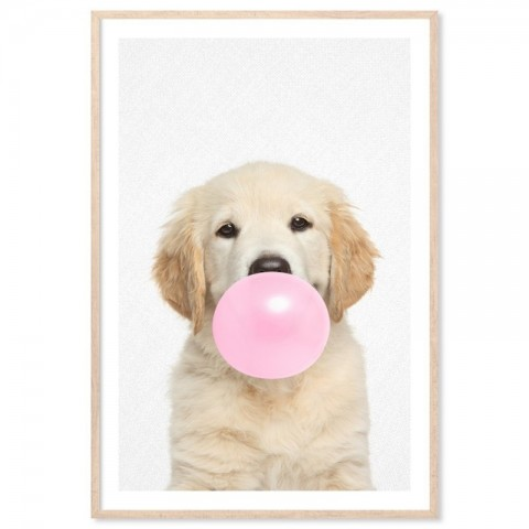 Bubblegum Golden Retriever Art Print