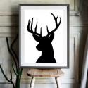 Deer Head Silhouette Black Art Print