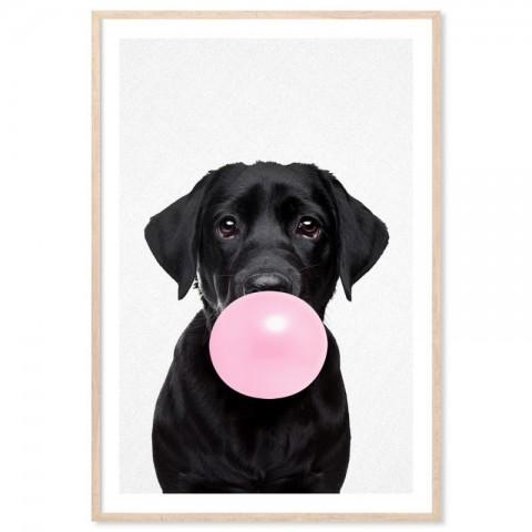 Bubblegum Black Labrador Art Print