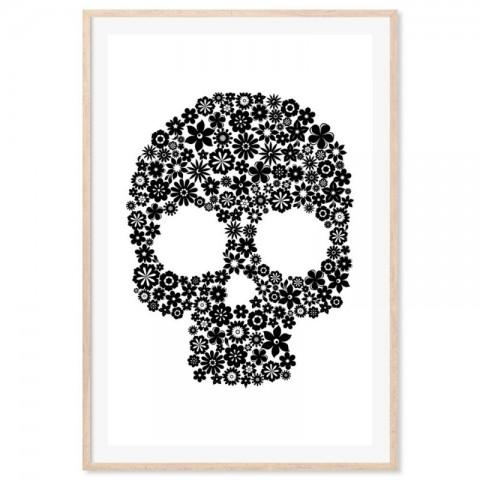 Skull Flowers Black Art Print