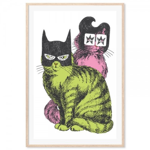 Batman Elvis Cats Art Print