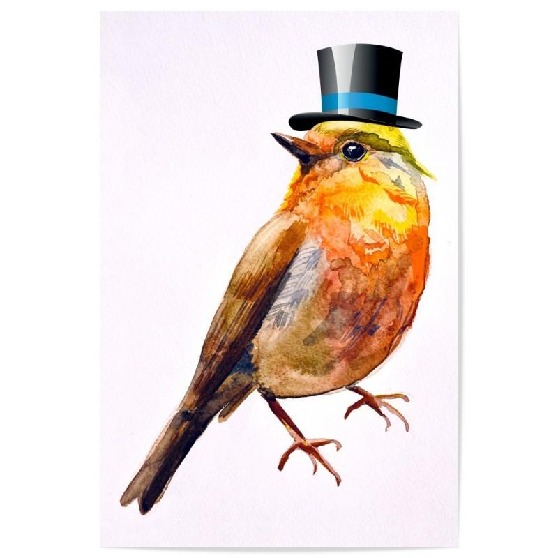 Bird Top Hat Art Print