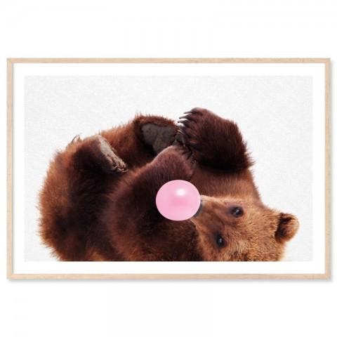 Roly Poly Bubblegum Bear Art Print