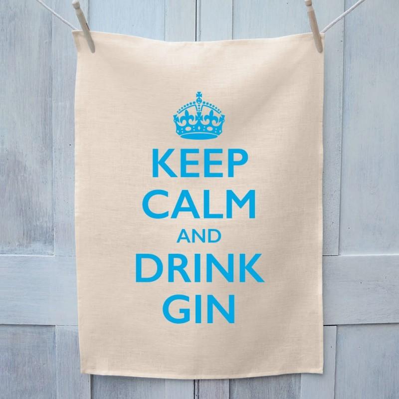 Keep Calm And Drink Gin Tea Towel