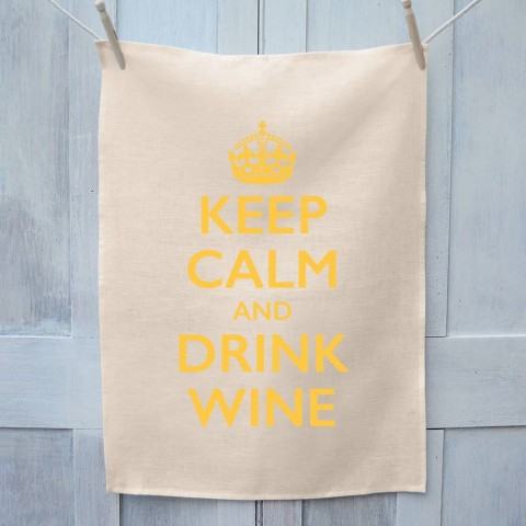 Keep Calm And Drink Wine Tea Towel