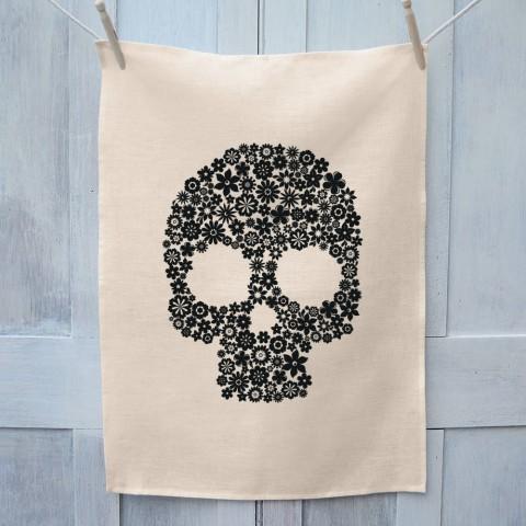 Skull Flowers Tea Towel