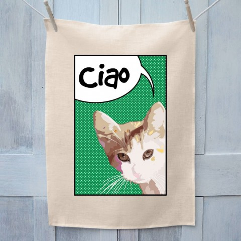 Cat Ciao Tea Towel