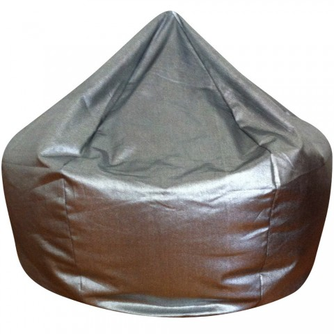 Metallic Denim Bean Bag Silver