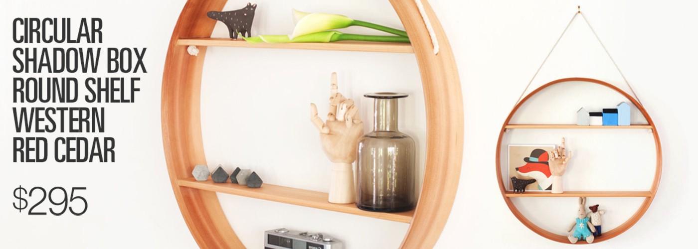 Circular Shadow Box Round Shelf Western Red Cedar